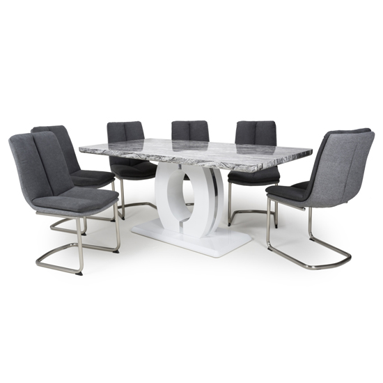 Neville Large Gloss Dining Table With 6 Triton Dark Grey Chairs