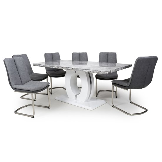 Neville Large Gloss Dining Table With 6 Triton Light Grey Chairs_1