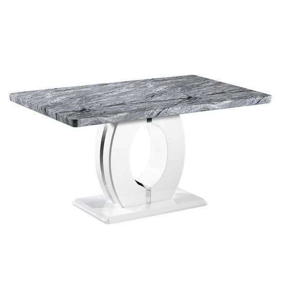 Neville Gloss Marble Effect Dining Table With 4 Black Chairs_2