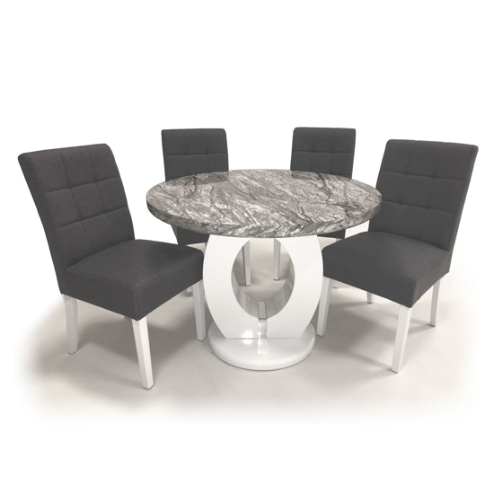 Neville Marble Gloss Round Dining Table 4 Steel Grey Chairs