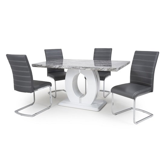 Neville Gloss Marble Effect Dining Table With 4 Grey Chairs