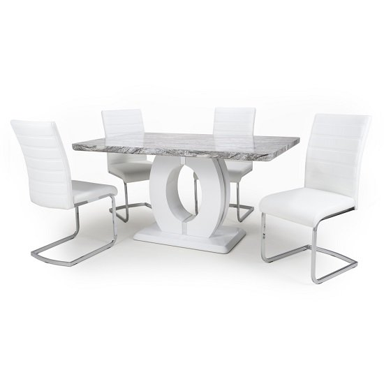 Neville Gloss Marble Effect Dining Table With 4 White Chairs