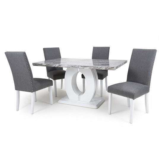 Neville Gloss Marble Effect Dining Table With 6 Dining Chairs