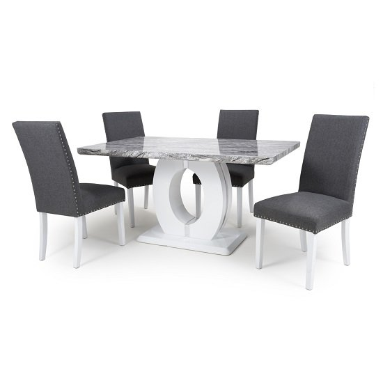 Neville Gloss Marble Effect Dining Table With 4 Barros Chairs
