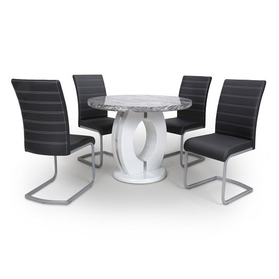 Neville Round Marble Effect Dining Table With 4 Black Chairs