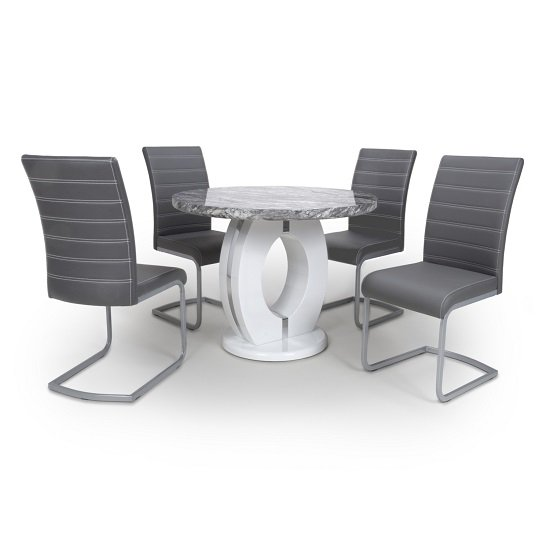 Neville Round Marble Effect Dining Table With 4 Grey Chairs