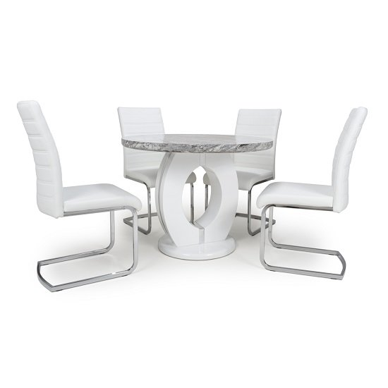 Neville Round Marble Effect Dining Table With 4 White Chairs