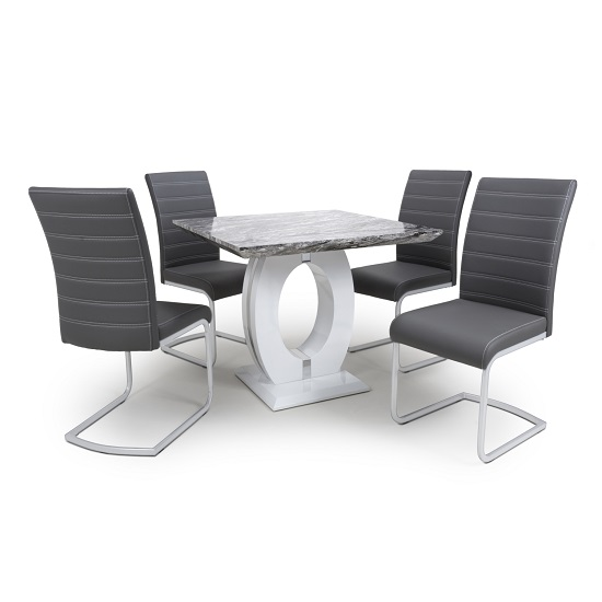 Neville Square Marble Effect Dining Table With 4 Grey Chairs