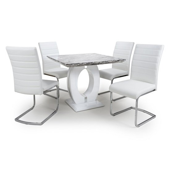 Neville Square Marble Effect Dining Table With 4 White Chairs