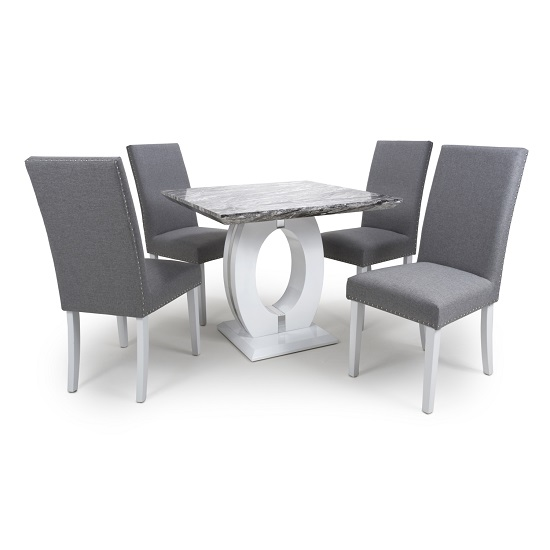 Neville Square Marble Effect Dining Table With Silver Grey Chair