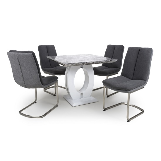 Neville Square Marble Effect Dining Table With 4 Dark Grey Chair