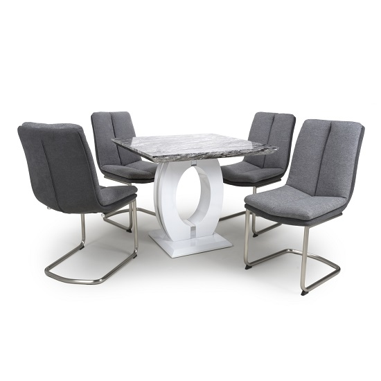 Neville Square Marble Effect Dining Table With Light Grey Chairs