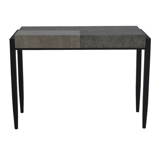 Nevis Console Table In Light And Dark Concrete With Metal Legs