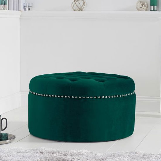 New England Velvet Round Footstool In Green
