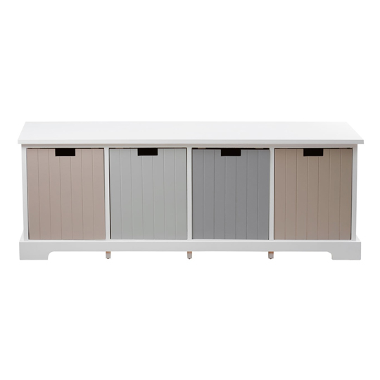Kornephoros England Wooden 4 Drawers Bench In White