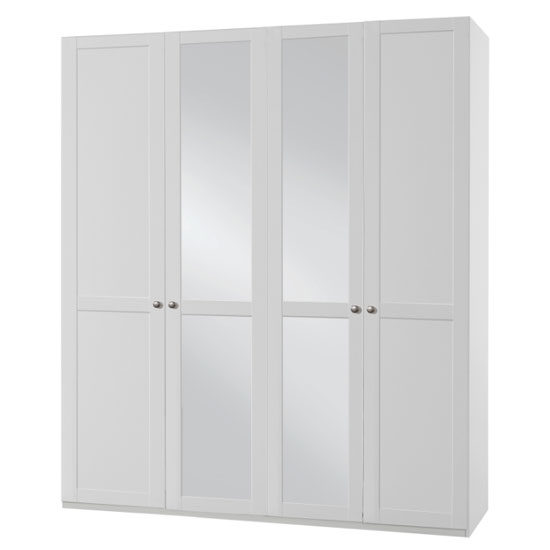 New Tork Tall Mirrored Wardrobe In White With 4 Doors