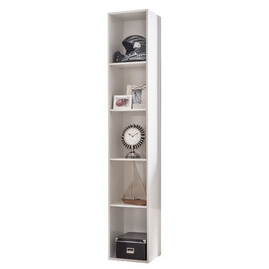 New Tork Tall Wooden Shelving Unit In White