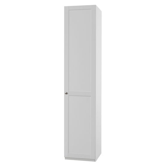 New Tork Tall Wooden Wardrobe In White With 1 Door