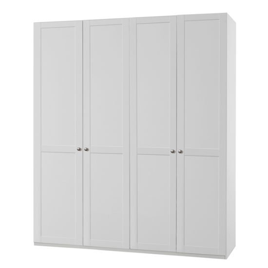 New Tork Tall Wooden Wardrobe In White With 4 Doors