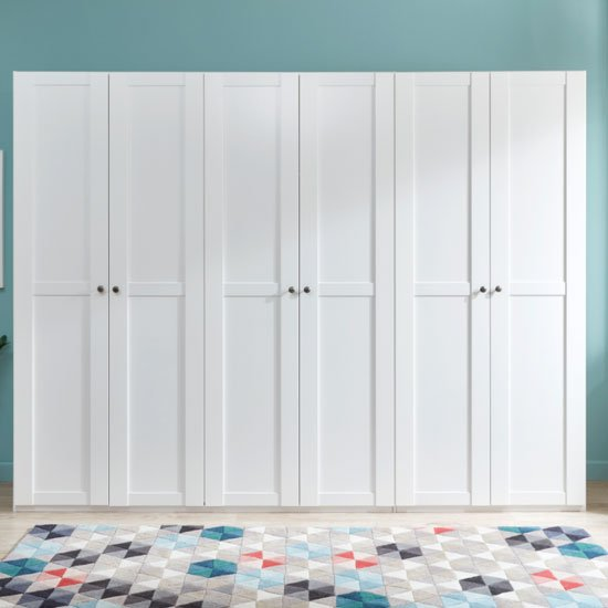 New Tork Wooden Wardrobe In White With 6 Doors