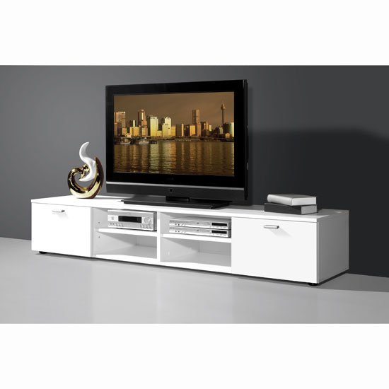 modern white plasma tv stand with 4 open compartment ebay. Black Bedroom Furniture Sets. Home Design Ideas