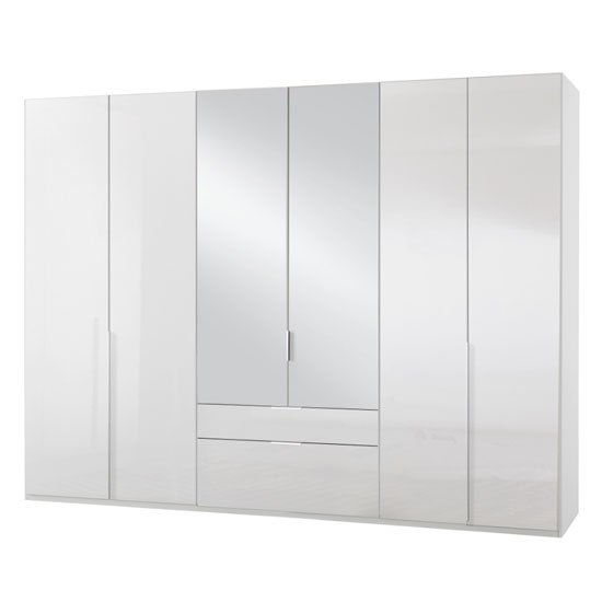 New Xork 6 Doors Mirrored Wardrobe In High Gloss White