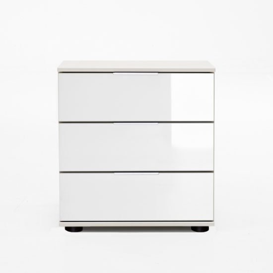 New Xork Bedside Cabinet In High Gloss White With 3 Drawers_1