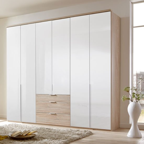 New Xork Tall 6 Door Wooden Wardrobe In High Gloss White And Oak