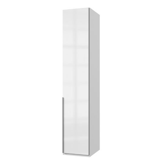 New Xork Tall Wooden Wardrobe In High Gloss White 1 Door