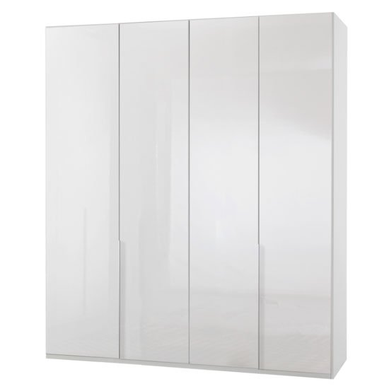 New Xork Tall Wooden Wardrobe In High Gloss White 4 Doors_1