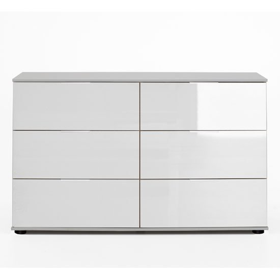 New Xork Wooden Chest Of Drawers In High Gloss White