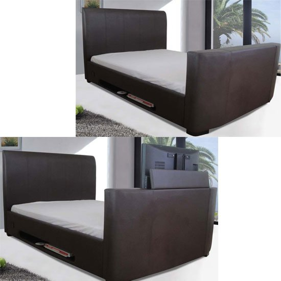 new york modern leather king size bed with tv mount 10921. Black Bedroom Furniture Sets. Home Design Ideas