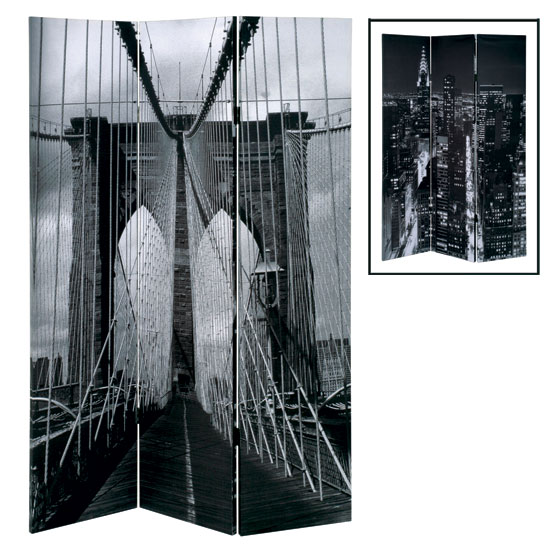 Brooklyn Bridge Foldable Room Divider In Canvas