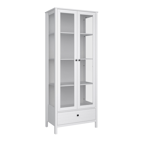 New York Display Cabinet In White With 2 Doors And 1 Drawer