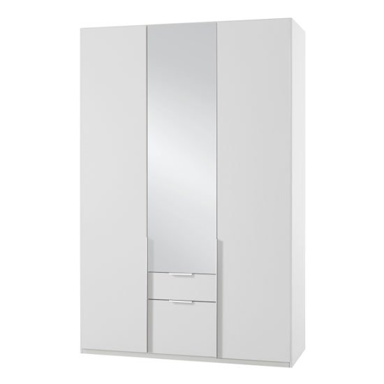 New York Mirrored 3 Doors Wardrobe In White