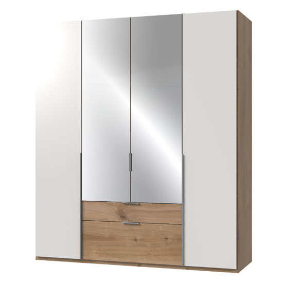 New York Mirrored 4 Doors Wardrobe In White And Planked Oak