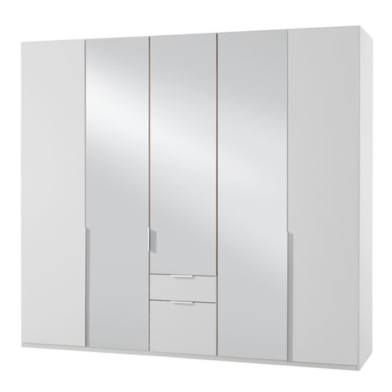 New York Mirrored 5 Doors Wardrobe In White