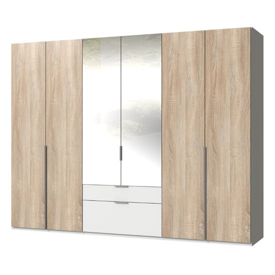 New York Mirrored 6 Doors Wardrobe In Oak And White