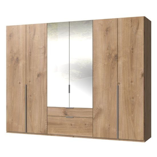 New York Mirrored 6 Doors Wardrobe In Planked Oak