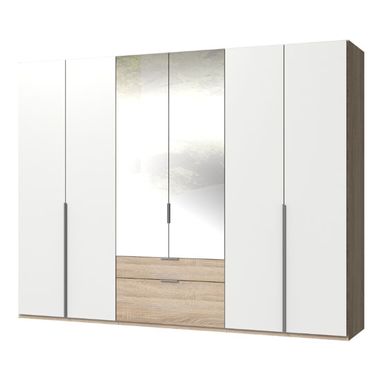 New York Mirrored 6 Doors Wardrobe In White And Oak