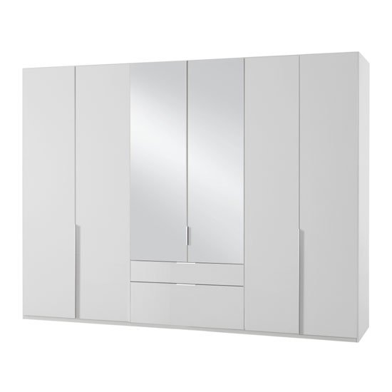 New York Mirrored 6 Doors Wardrobe In White