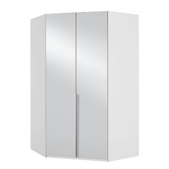 New York Mirrored Corner Wardrobe In White