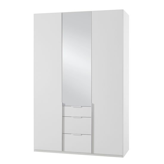 New York Tall Mirrored 3 Doors Wardrobe In White
