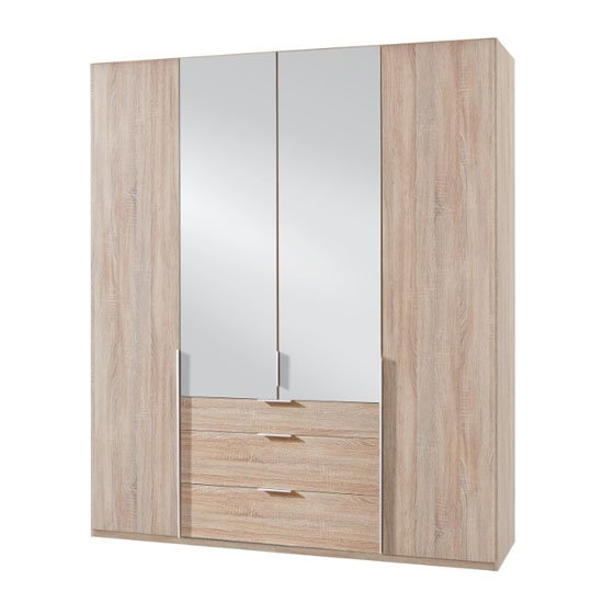 New York Tall Mirrored 4 Doors Wardrobe In Oak