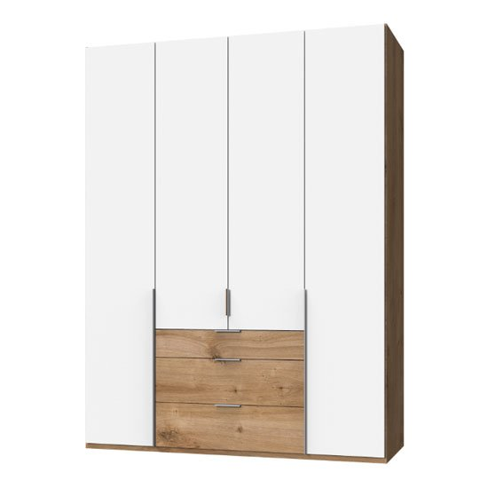 New York Tall Wooden 4 Doors Wardrobe In White And Planked Oak