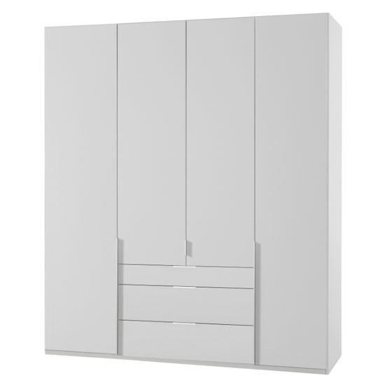 New York Tall Wooden 4 Doors Wardrobe In White