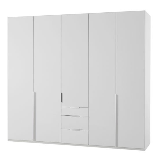 New York Tall Wooden 5 Doors Wardrobe In White