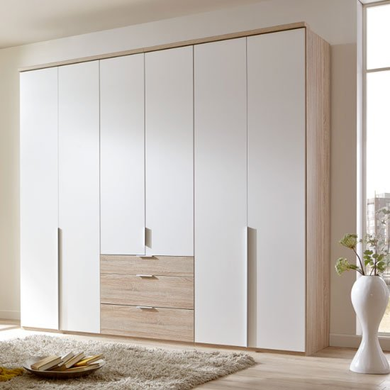 New York Tall Wooden 6 Doors Wardrobe In White And Oak