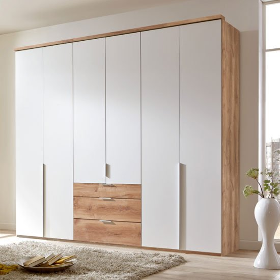 New York Tall Wooden 6 Doors Wardrobe In White And Planked Oak_1