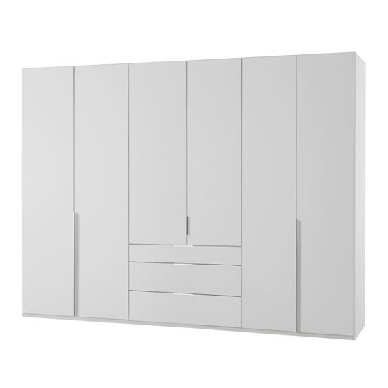 Product photograph showing New York Tall Wooden 6 Doors Wardrobe In White